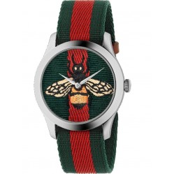 Gucci Mens G-Timeless Embroidered Bee Motif Multicolor Fabric Strap Watch YA1264060