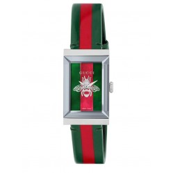 Gucci Ladies G-Frame Stainless Steel Bee Motif Stripe Leather Strap Watch YA147408