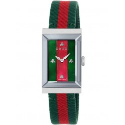 Gucci Ladies G-Frame Green And Red Woven Strap Watch YA147404