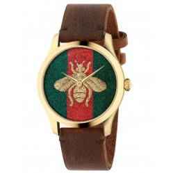 Gucci G-Timeless Gold Plated Honeybee Motif Brown Leather Strap Watch YA126451A