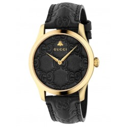 Gucci Ladies G-Timeless Medium Gold Plated Black Leather Strap Watch YA1264034A