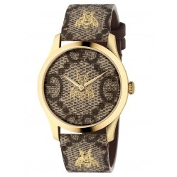 Gucci Ladies G-Timeless Gold Plated GG Bee Motif Brown Leather Strap Watch YA1264068A