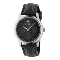Gucci Ladies G-Timeless Black Leather Strap Watch YA1264031A