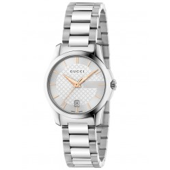 Gucci Ladies Timeless Steel Silver Watch YA126523