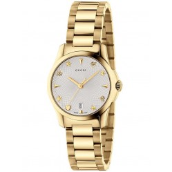 Gucci Ladies Gold Plated Signature Small Bracelet Watch YA126576
