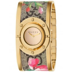 Gucci Ladies Gold Plated Pink Blooms Floral Bangle Watch YA112443