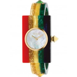 Gucci Ladies Gold Plated Multicoloured Medium Plastic Bangle Watch YA143520