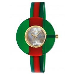 Gucci Ladies Vintage Web Gold Plated Mother Of Pearl Dial Green and Red Bangle Watch YA143403