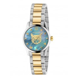 Gucci Ladies G-Timeless Pastel Blue Mother Of Pearl Dial Two Colour Bracelet Watch YA1265011