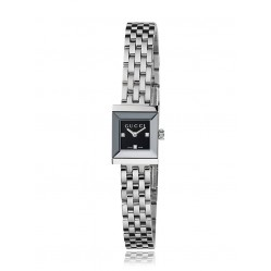 Gucci Ladies G-Frame Square Black Diamond Set Dial Stainless Steel Bracelet Watch YA128507