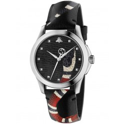 Gucci Mens Black Snake Leather Strap Watch YA1264007