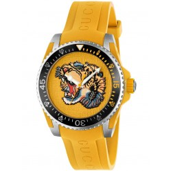 Gucci Mens Yellow Tiger Rubber Strap Watch YA136317