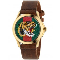 Gucci Mens Gold Plated Tiger Brown Leather Strap Watch YA126497