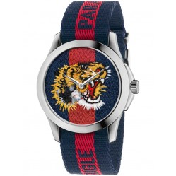 Gucci Mens Blue Red Tiger Fabric Strap Watch YA126495