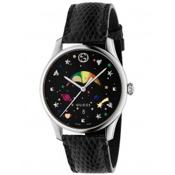 Gucci Mens Moonphase Black Leather Strap Watch YA1264045