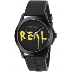 Gucci Mens 'Real' Black Rubber Strap Watch YA1264017