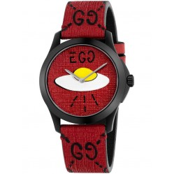 Gucci Mens GG Egg UFO Red Rubber Strap Watch YA1264023