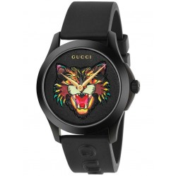 Gucci Mens Angry Cat Black Rubber Strap Watch YA1264021