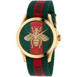 Gucci Mens Bee Gold Plated Green Red Fabric Strap Watch YA126487