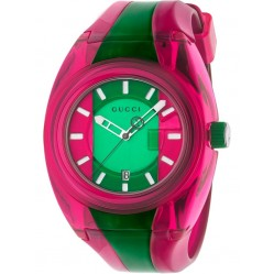 Gucci Mens Gucci Sync Pink Multicolor Rubber Strap Watch YA137115