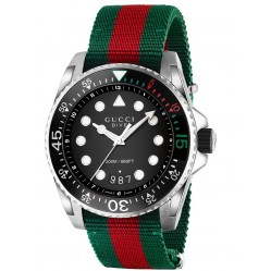 Gucci Dive Black Dial Multicolour Fabric Strap Watch YA136209A