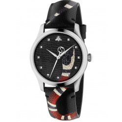 Gucci Mens Le Marche Des Merveilles Snake Motif Black Leather Strap Watch YA1264007A