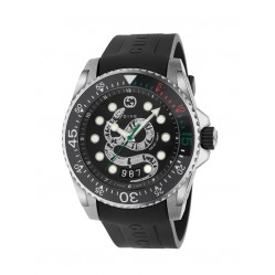 Gucci Mens Dive Stainless Steel Snake Dial Black Rubber Strap Watch YA136217