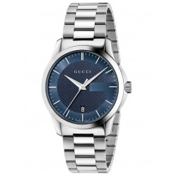 Gucci Mens Timeless Steel Blue Watch YA126440