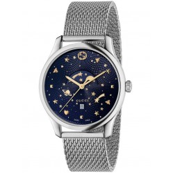 Gucci Mens Moonphase Blue Mesh Bracelet Watch YA126328