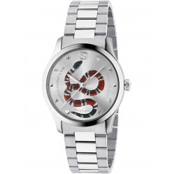 Gucci Mens G-Timeless Stainless Steel Snake Motif Bracelet Watch YA1264076