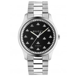 Gucci Mens G-Timeless Automatic Black Onyx Bee Motif Dial Bracelet Watch YA126283