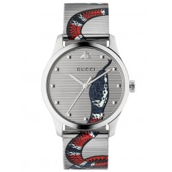 Gucci Mens G-Timeless Stainless Steel Blue and Red Snake Dial Mesh Strap Watch YA1264123