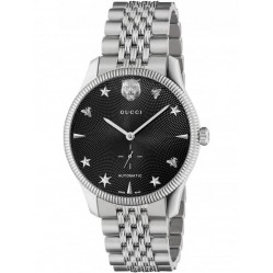 Gucci Mens G-Timeless Guilloche Automatic Black Dial Bracelet Watch YA126353