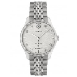 Gucci Mens G-Timeless Automatic White Guilloche Dial Bracelet Watch YA126354