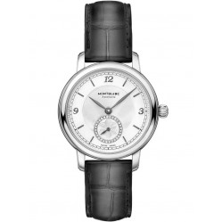 Montblanc Ladies Star Legacy Small Second Diamond Dial Black Leather Strap Watch 118536