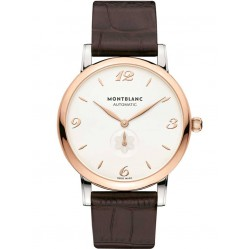 Montblanc Mens Star Classique Rose Gold Brown Leather Strap Watch 107309