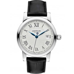 Montblanc Mens Star Automatic Date Black Leather Strap Watch 107114