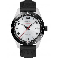 Montblanc Mens Timewalker Date Black Leather Strap Watch 116058