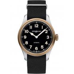 Montblanc Mens 1858 Automatic Black Leather Strap Watch 117832