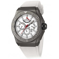 TW Steel Mens White Rubber Strap Watch CE5002
