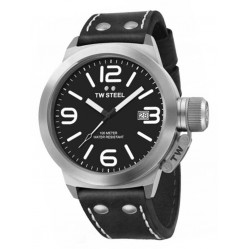 TW Steel Mens Canteen Black Leather Strap Watch TWCS1