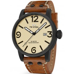 TW Steel Mens Maverick Brown Leather Strap Watch TWMS41