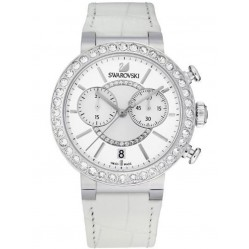 Swarovski Citra Sphere Silver Tone Chronograph White Strap Watch 2441063