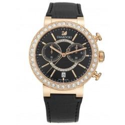 Swarovski Citra Sphere Rose Gold Tone Chronograph Black Strap Watch 5055209
