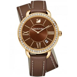 Swarovski Aila Day Gold Tone Brown Double Strap Watch 5160730