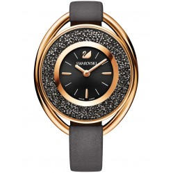 Swarovski Crystalline Oval Rose Gold Tone Black Strap Watch 5230943