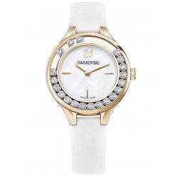 Swarovski Lovely Crystals Mini Rose Gold Tone White Strap Watch 5242904