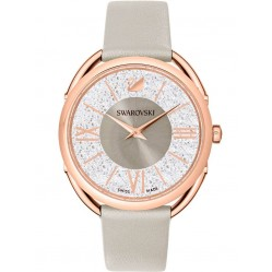 Swarovski Ladies Crystalline Glam Rose Gold Plated Grey Leather Strap Watch 5452455
