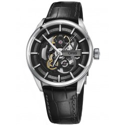 Oris Artix Skeleton Stainless Steel Black Leather Strap Watch 734 7714 4054-07 19 81FC