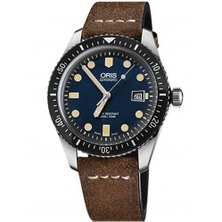 Oris Mens Divers Sixty-Five Brown Fabric Strap Watch 733 7720 4055-07TS